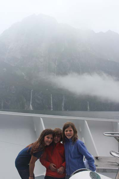 Milford Sound on a VERY rainy day! There was so many waterfalls we lost count at 212.